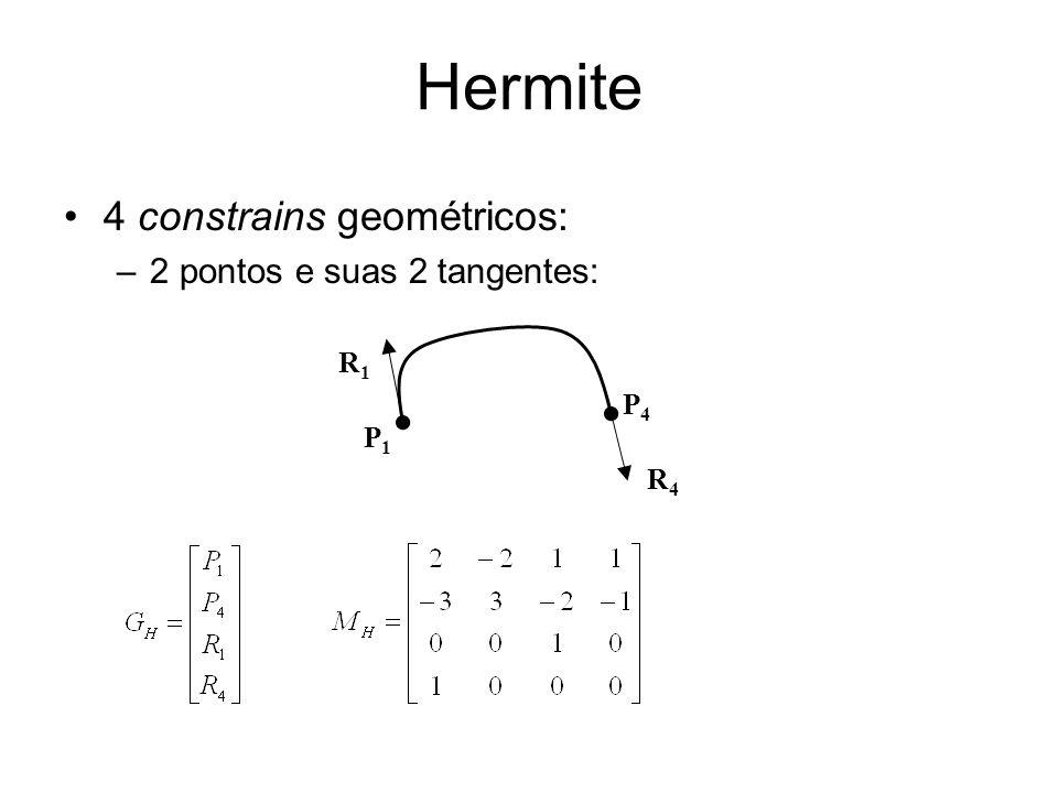 Hermite 4 constrains geométricos: 2 pontos e suas 2 tangentes: R1 P4