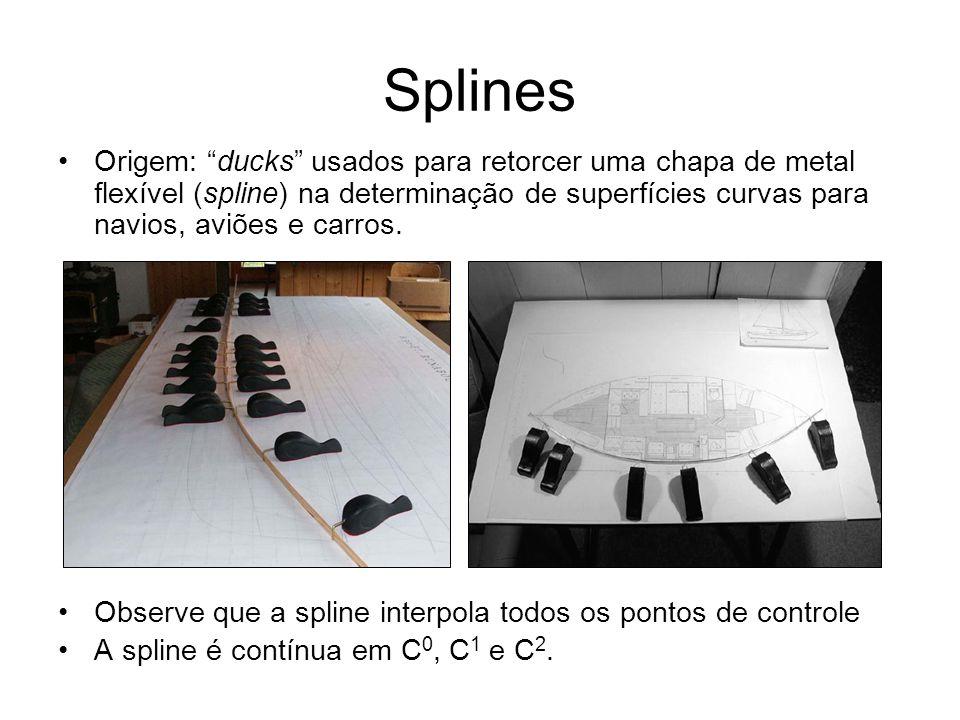 Splines Origem: ducks usados para retorcer uma chapa de metal flexível (spline) na determinação de superfícies curvas para navios, aviões e carros.