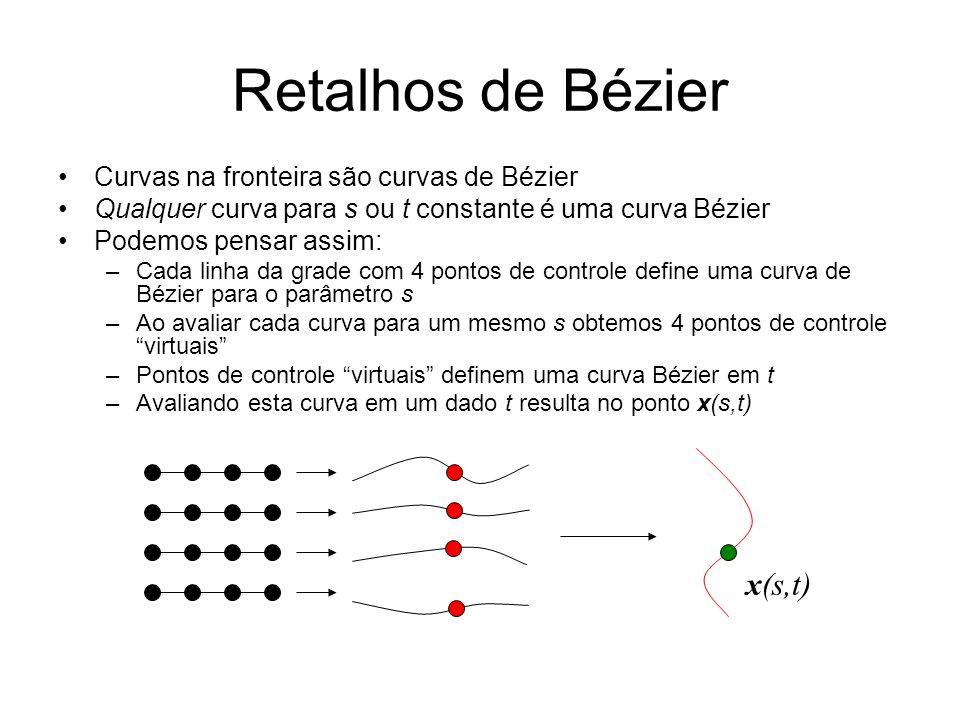 Retalhos de Bézier x(s,t) Curvas na fronteira são curvas de Bézier