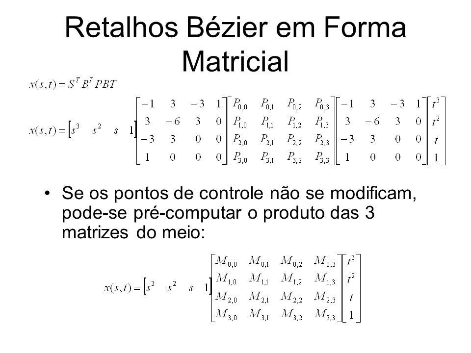 Retalhos Bézier em Forma Matricial