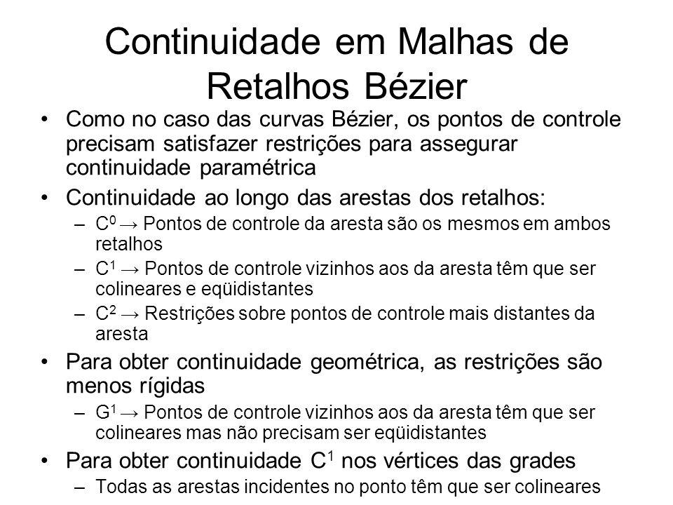 Continuidade em Malhas de Retalhos Bézier
