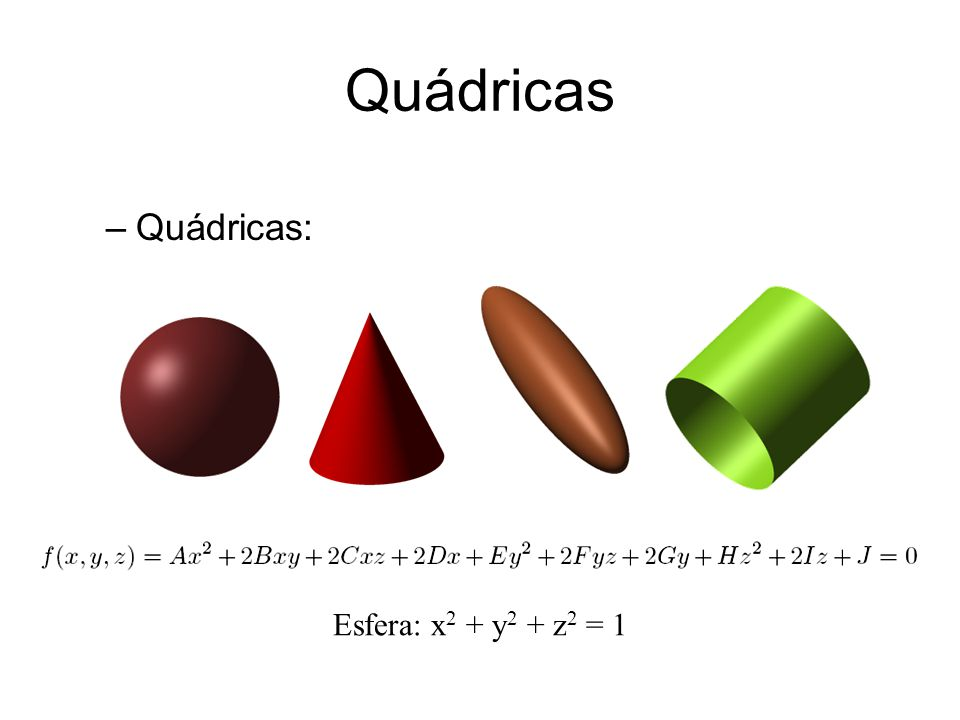 Quádricas Quádricas: Esfera: x2 + y2 + z2 = 1