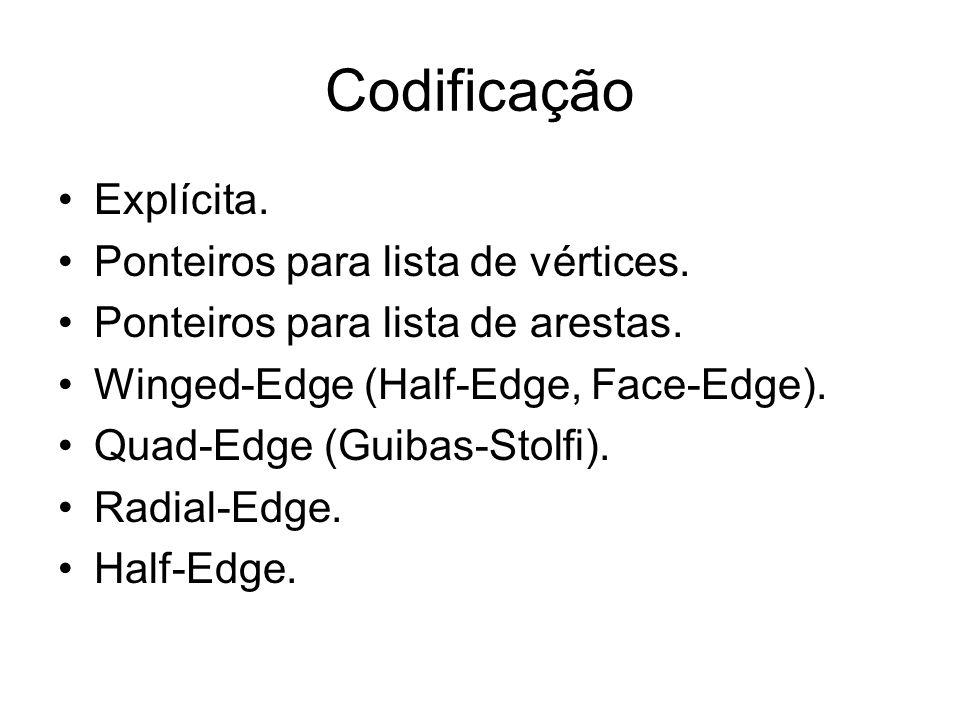 Codificação Explícita. Ponteiros para lista de vértices.
