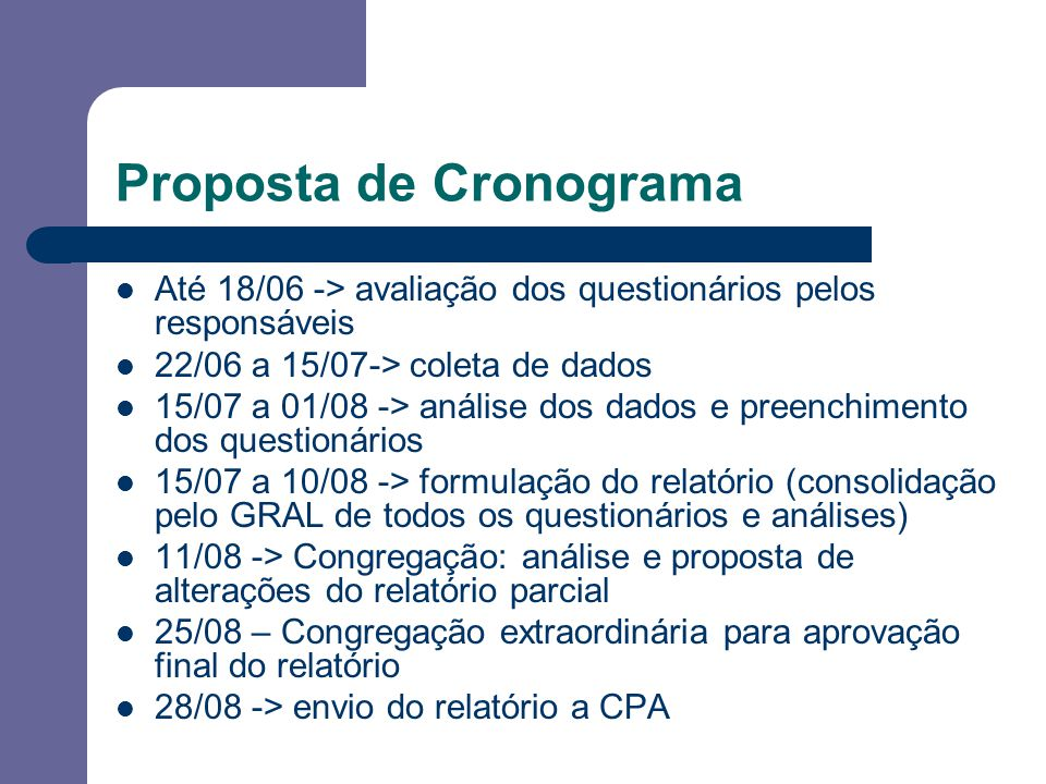Proposta de Cronograma