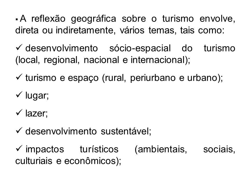 turismo e espaço (rural, periurbano e urbano); lugar; lazer;