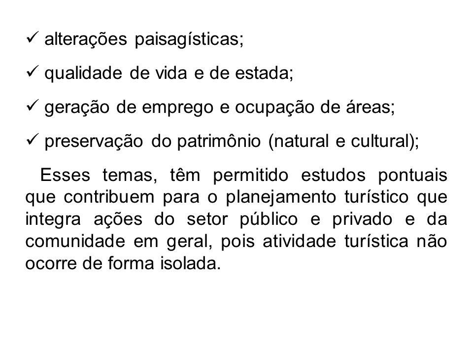 alterações paisagísticas;