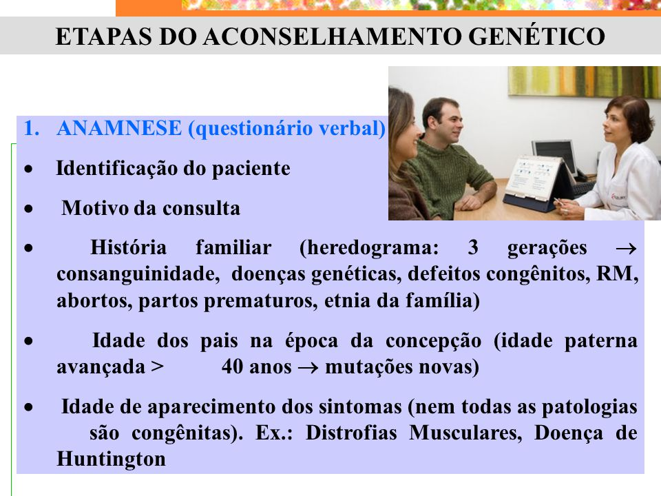 ETAPAS DO ACONSELHAMENTO GENÉTICO