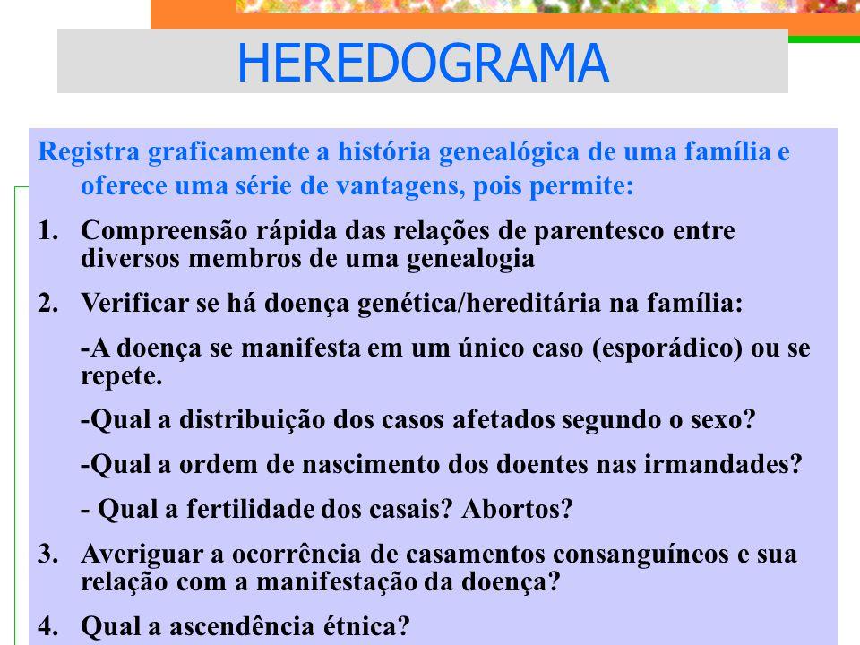 HEREDOGRAMA Registra graficamente a história genealógica de uma família e oferece uma série de vantagens, pois permite:
