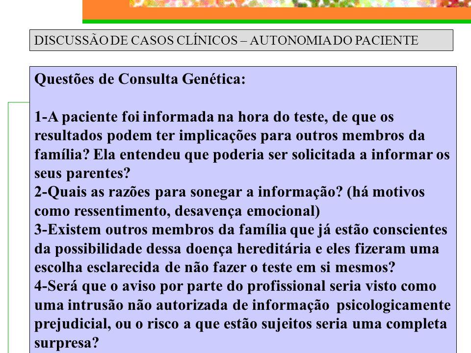 Questões de Consulta Genética: