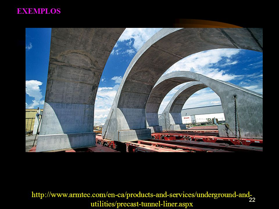EXEMPLOS http://www.armtec.com/en-ca/products-and-services/underground-and-utilities/precast-tunnel-liner.aspx.