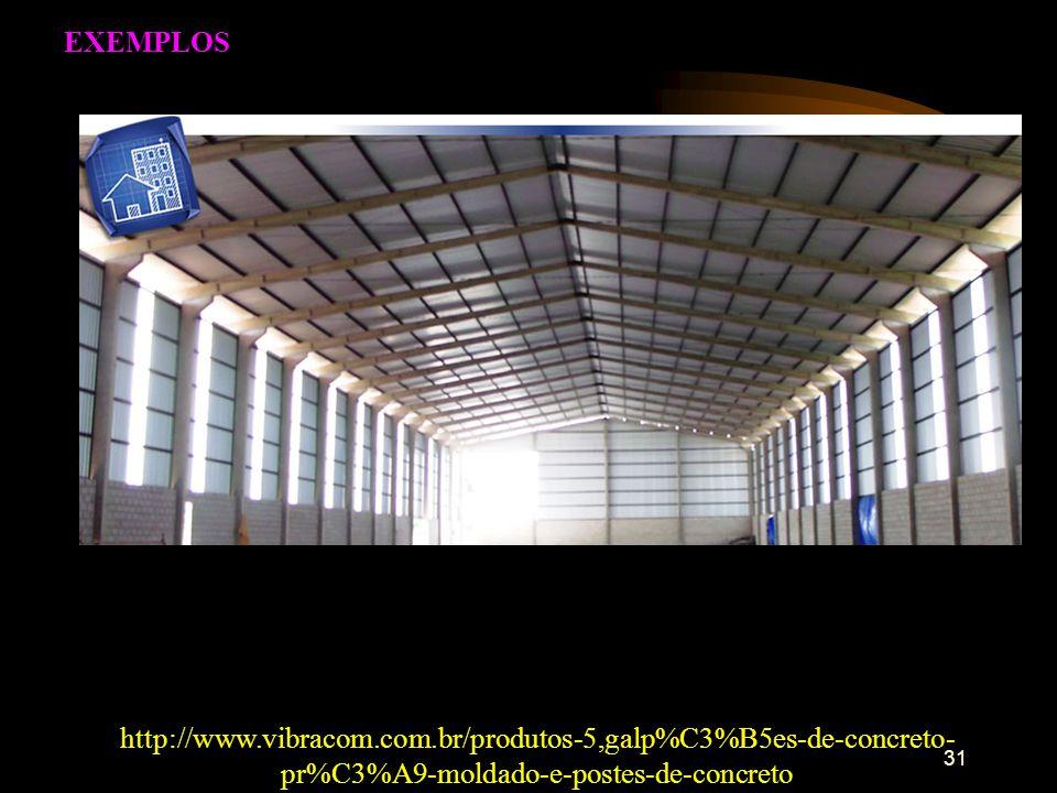 EXEMPLOS http://www.vibracom.com.br/produtos-5,galp%C3%B5es-de-concreto-pr%C3%A9-moldado-e-postes-de-concreto.