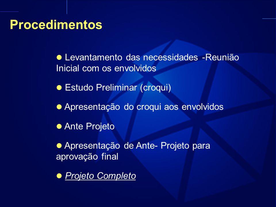 Procedimentos Levantamento das necessidades -Reunião Inicial com os envolvidos. Estudo Preliminar (croqui)
