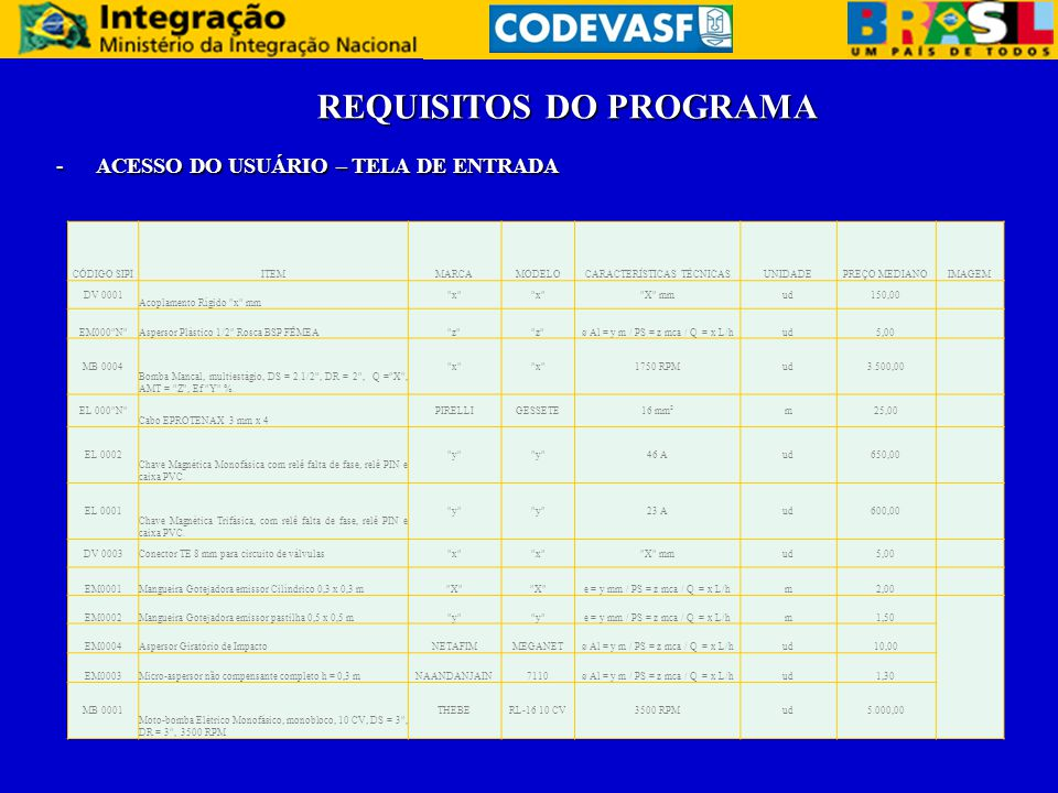 REQUISITOS DO PROGRAMA