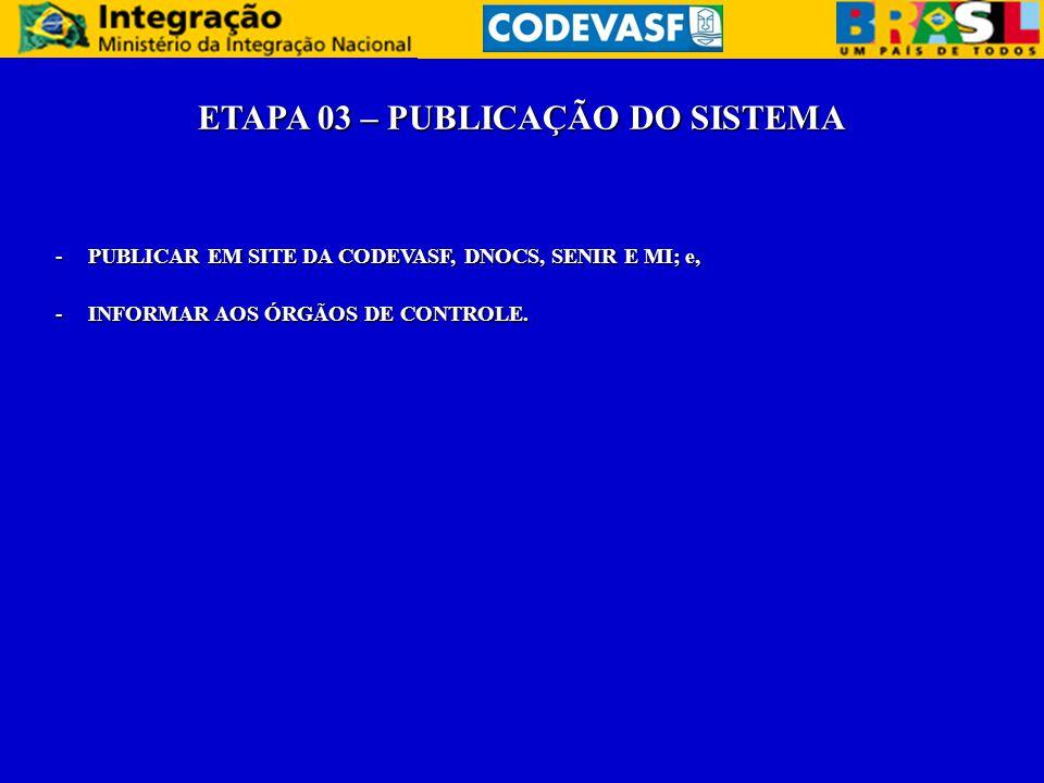 ETAPA 03 – PUBLICAÇÃO DO SISTEMA