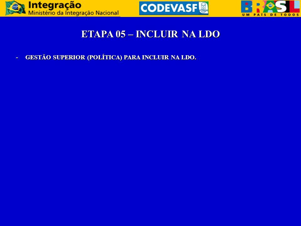 ETAPA 05 – INCLUIR NA LDO GESTÃO SUPERIOR (POLÍTICA) PARA INCLUIR NA LDO.