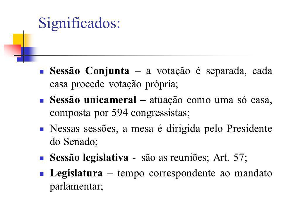 Significados: Sessão Conjunta – a votação é separada, cada casa procede votação própria;