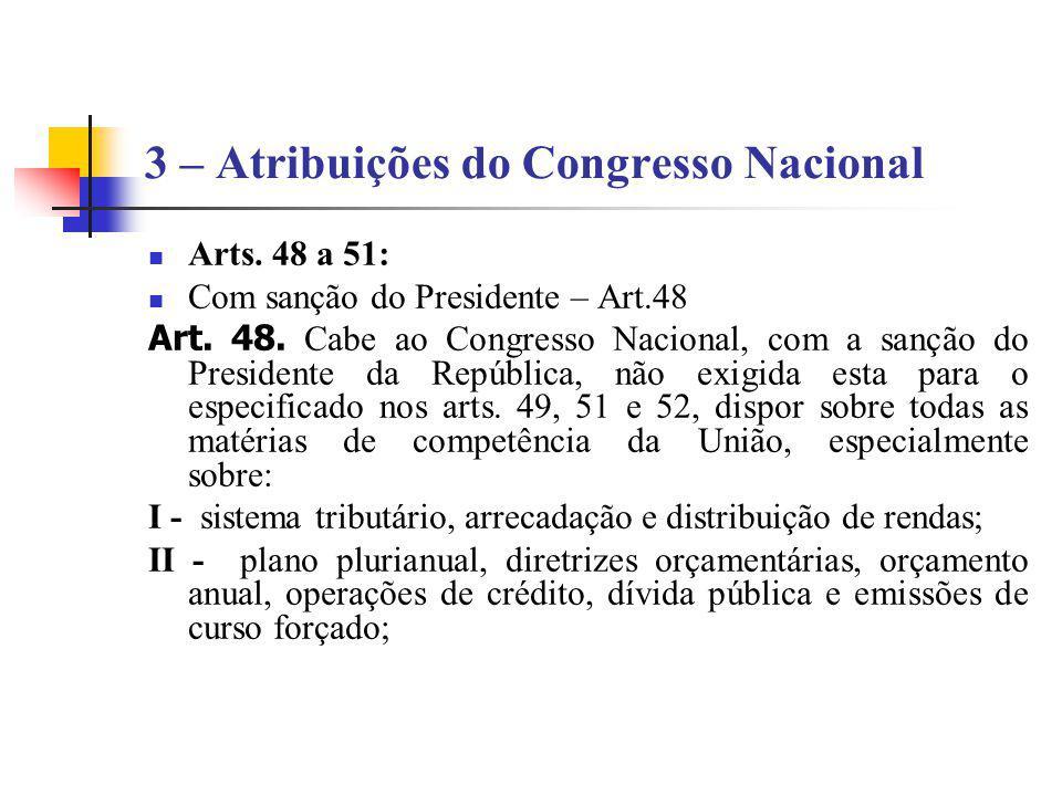 3 – Atribuições do Congresso Nacional