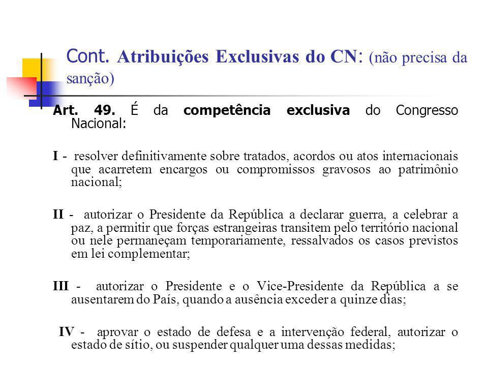 Cont. Atribuições Exclusivas do CN: (não precisa da sanção)