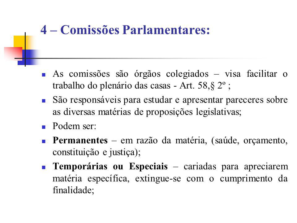 4 – Comissões Parlamentares: