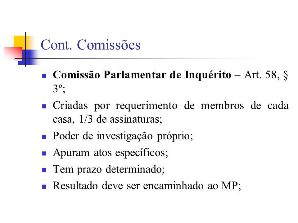 Cont. Comissões Comissão Parlamentar de Inquérito – Art. 58, § 3º;