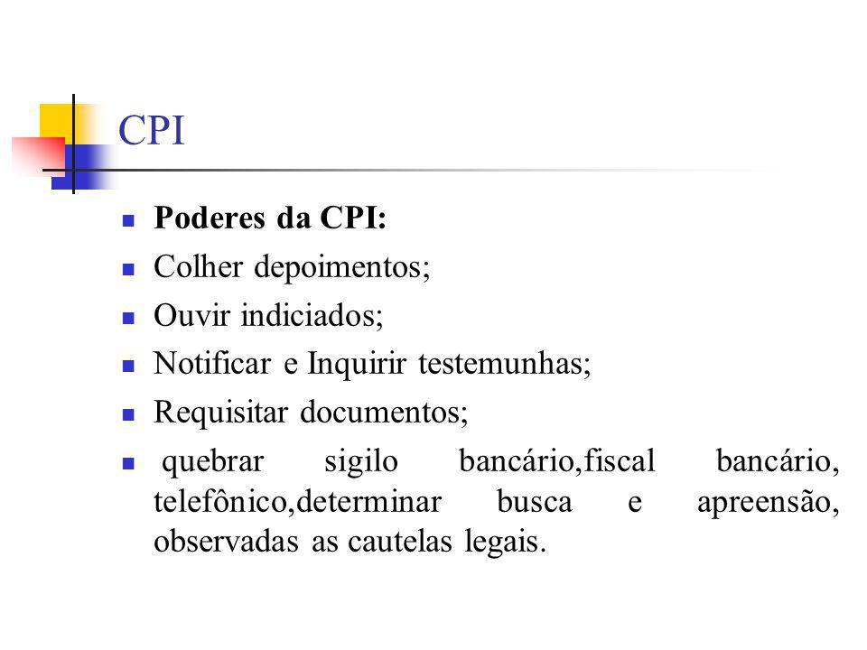 CPI Poderes da CPI: Colher depoimentos; Ouvir indiciados;