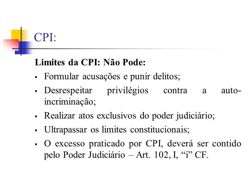 CPI: Limites da CPI: Não Pode: Formular acusações e punir delitos;