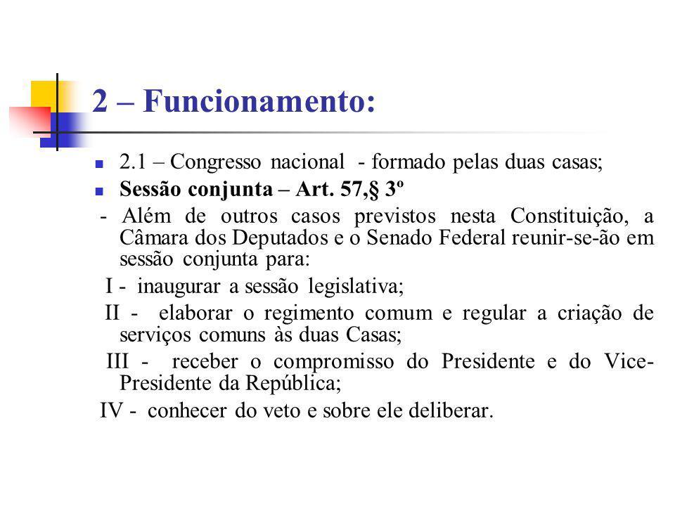 2 – Funcionamento: 2.1 – Congresso nacional - formado pelas duas casas; Sessão conjunta – Art. 57,§ 3º.