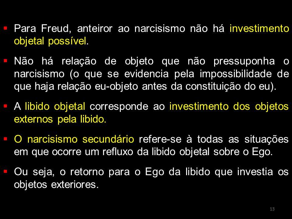 Para Freud, anteiror ao narcisismo não há investimento objetal possível.