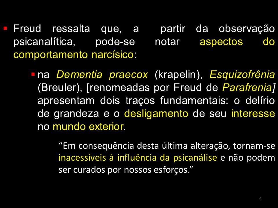 Freud ressalta que, a partir da observação psicanalítica, pode-se notar aspectos do comportamento narcísico: