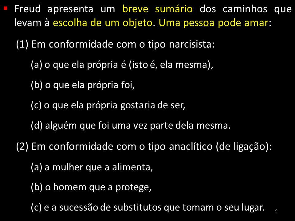 (1) Em conformidade com o tipo narcisista: