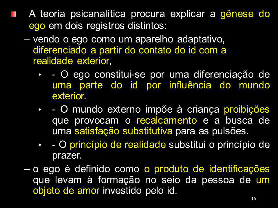 - O princípio de realidade substitui o princípio de prazer.