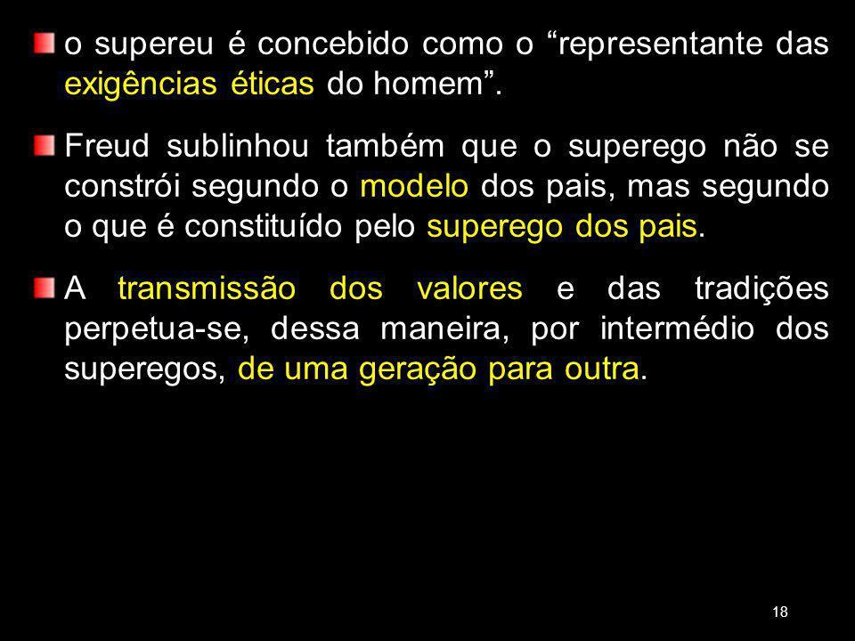 18/03/13 o supereu é concebido como o representante das exigências éticas do homem .