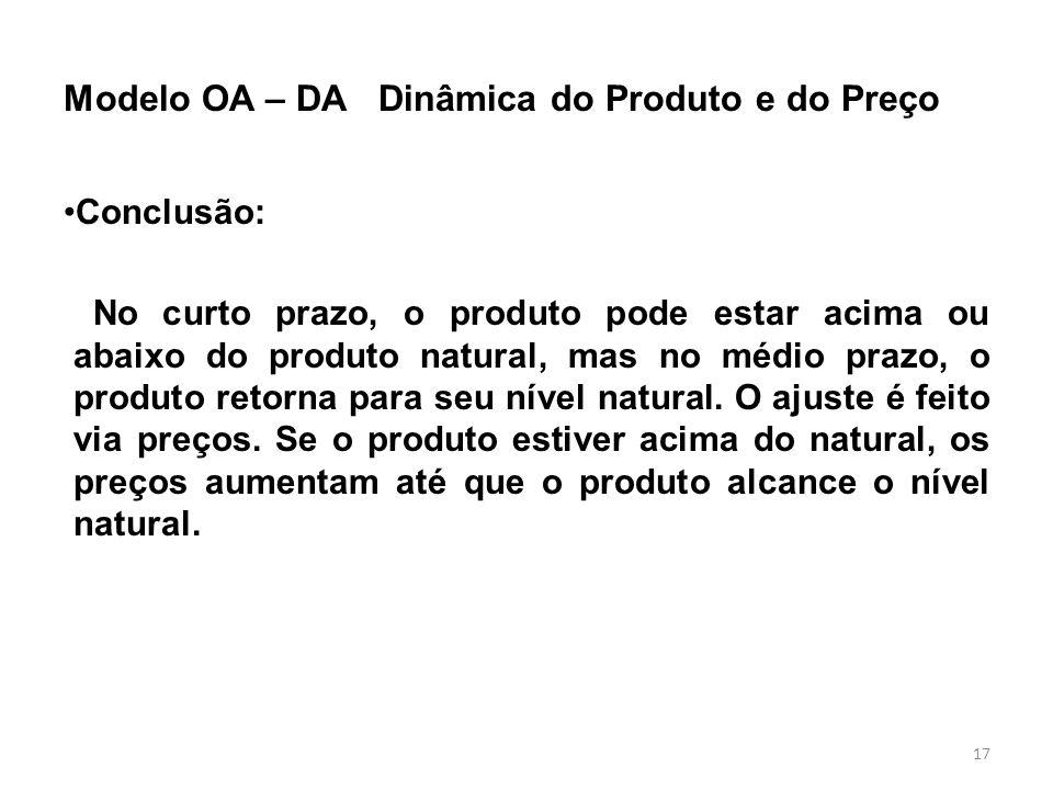 Modelo OA – DA Dinâmica do Produto e do Preço