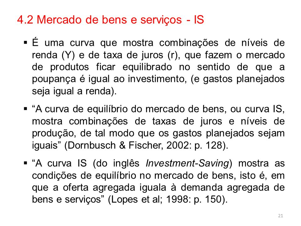 4.2 Mercado de bens e serviços - IS