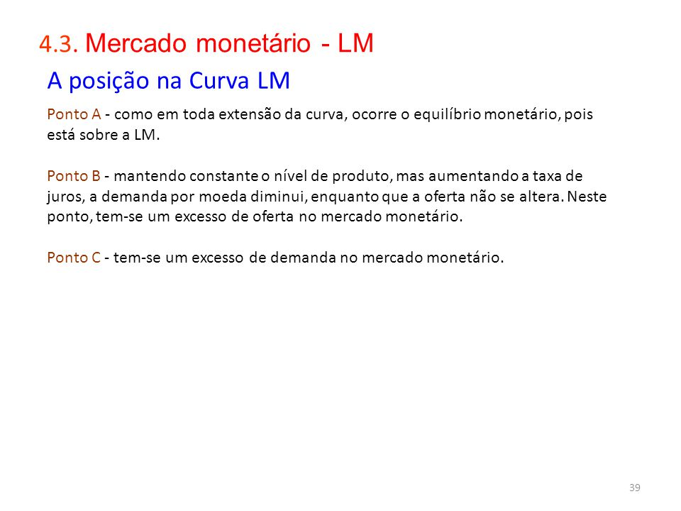 4.3. Mercado monetário - LM A posição na Curva LM
