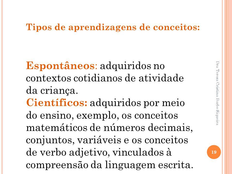 Tipos de aprendizagens de conceitos: