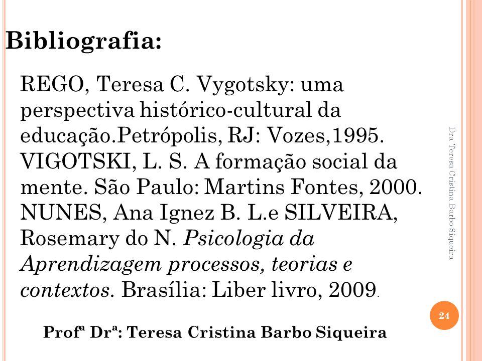 Bibliografia: REGO, Teresa C. Vygotsky: uma perspectiva histórico-cultural da educação.Petrópolis, RJ: Vozes,1995.