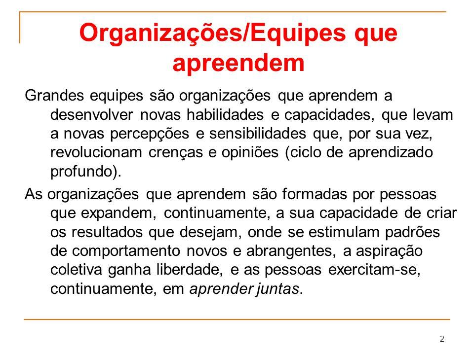 Organizações/Equipes que apreendem