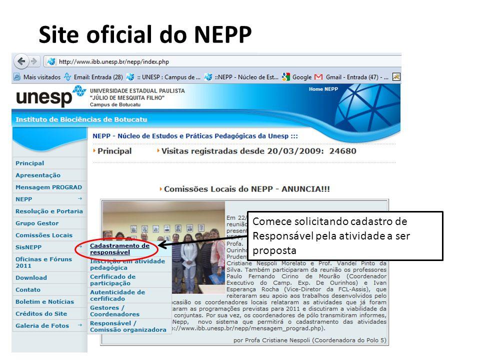Site oficial do NEPP Comece solicitando cadastro de Responsável pela atividade a ser proposta