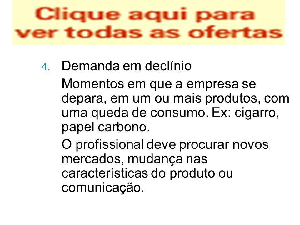 Demanda em declínio Momentos em que a empresa se depara, em um ou mais produtos, com uma queda de consumo. Ex: cigarro, papel carbono.