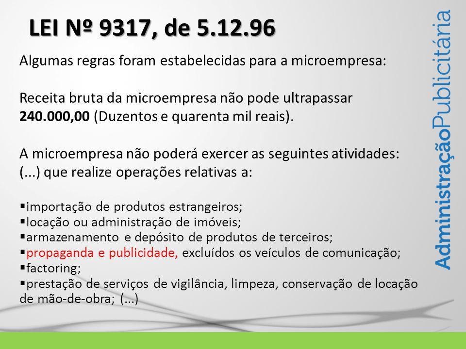 LEI Nº 9317, de 5.12.96 Algumas regras foram estabelecidas para a microempresa: