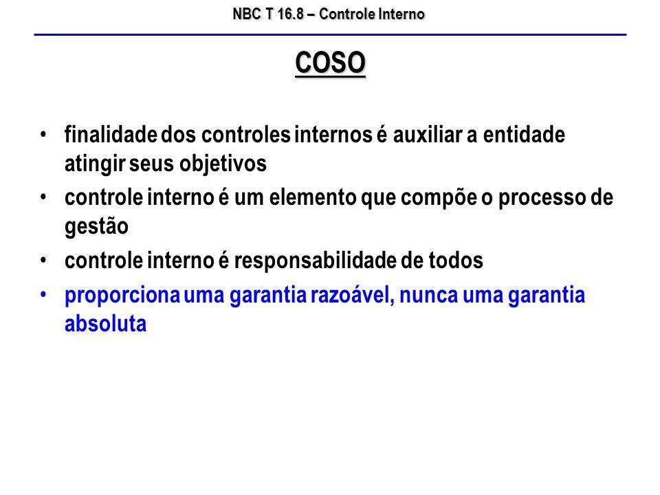 COSO finalidade dos controles internos é auxiliar a entidade atingir seus objetivos. controle interno é um elemento que compõe o processo de gestão.