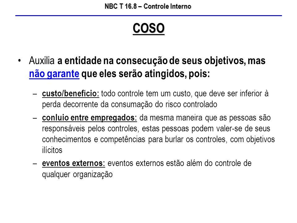 COSO Auxilia a entidade na consecução de seus objetivos, mas não garante que eles serão atingidos, pois: