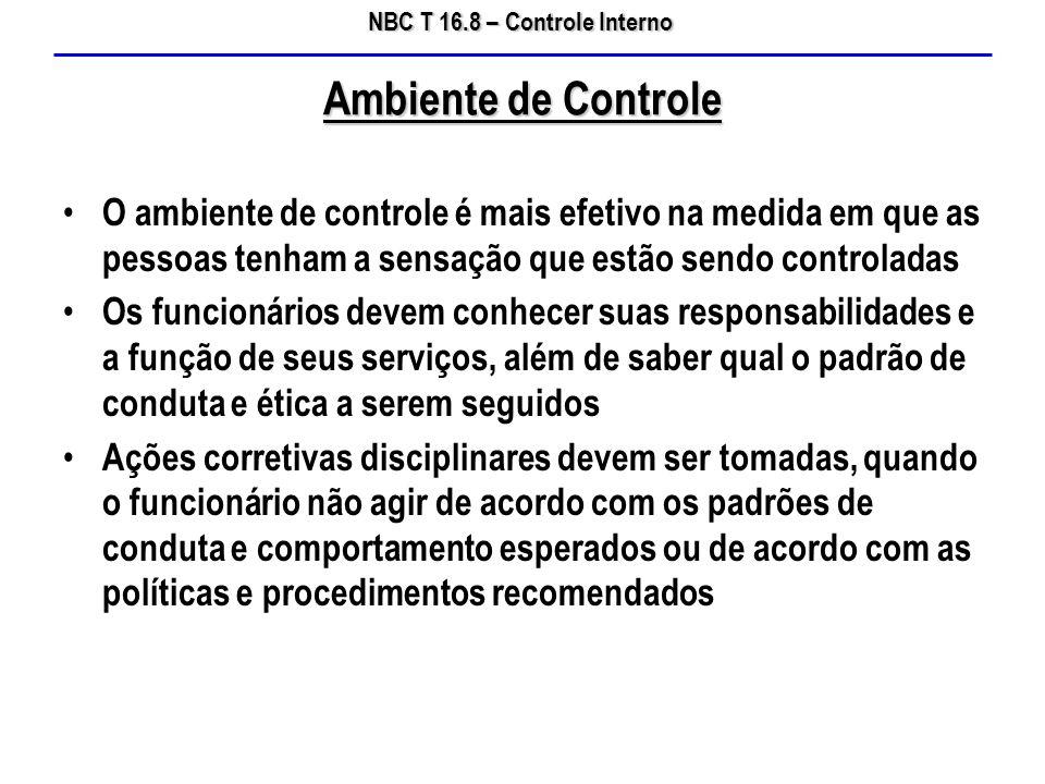Ambiente de Controle O ambiente de controle é mais efetivo na medida em que as pessoas tenham a sensação que estão sendo controladas.