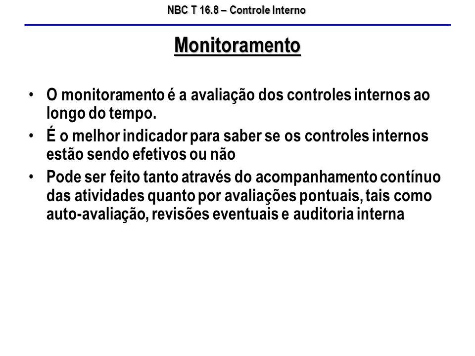 Monitoramento O monitoramento é a avaliação dos controles internos ao longo do tempo.