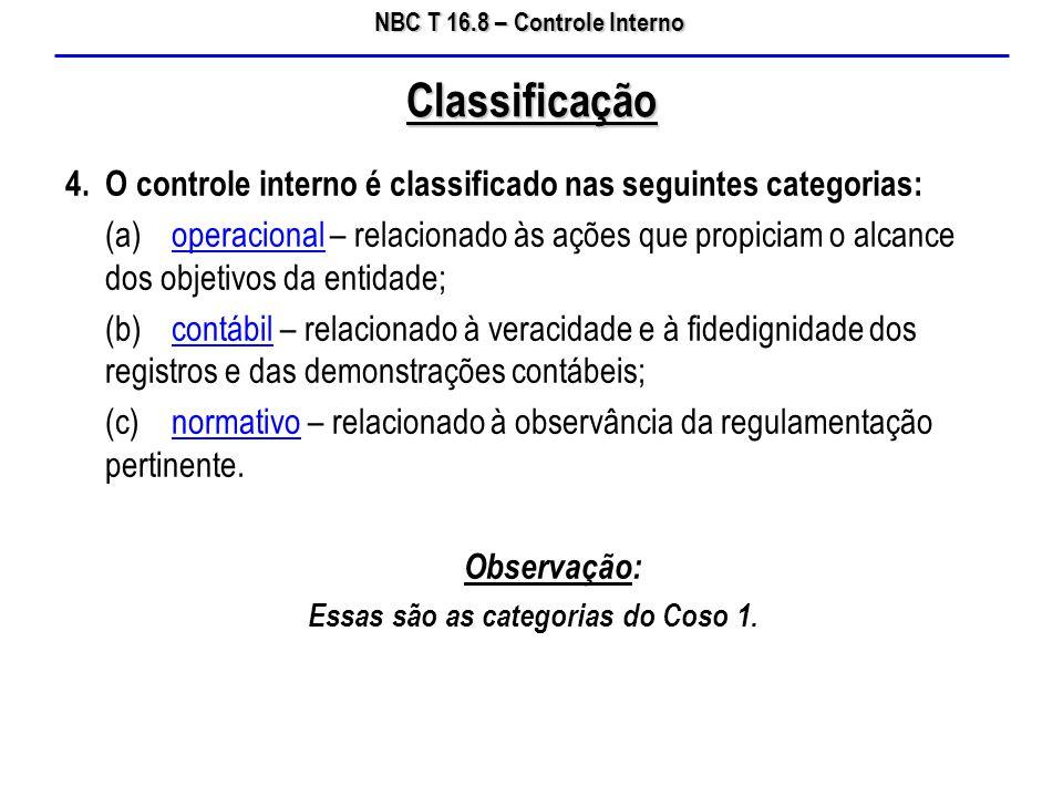 Essas são as categorias do Coso 1.
