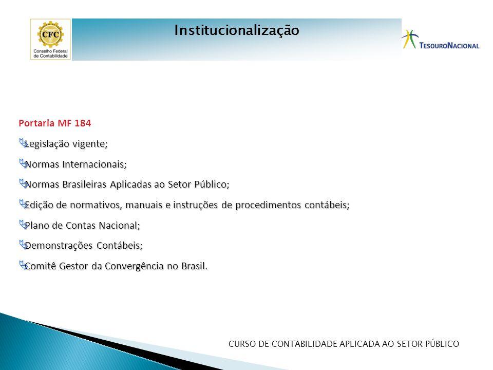 Institucionalização Portaria MF 184 Legislação vigente;
