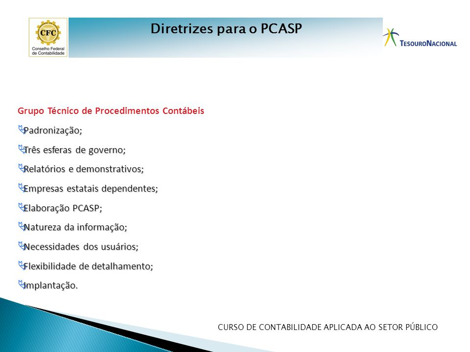 Diretrizes para o PCASP