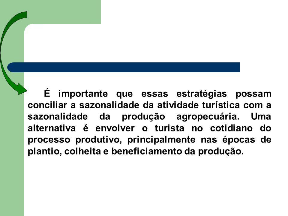 É importante que essas estratégias possam conciliar a sazonalidade da atividade turística com a sazonalidade da produção agropecuária.
