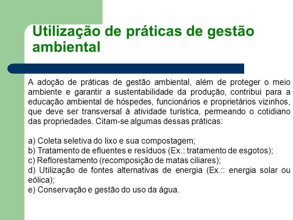 Utilização de práticas de gestão ambiental